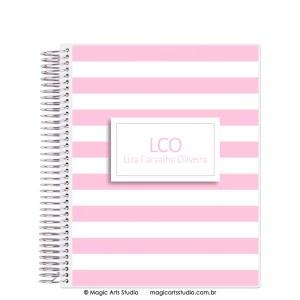 Magic Planner tamanho Large com espiral prata - Listras rosa