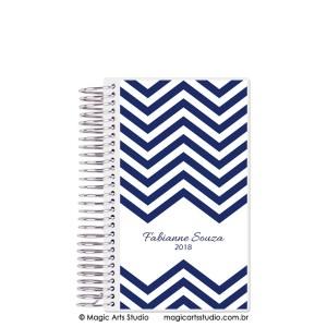 Magic Planner tamanho personal com espiral prata - Chevron azul marinho