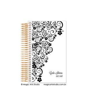 Magic Planner tamanho personal com espiral dourado - Ornamentos branco e preto