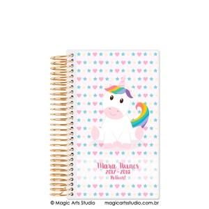 Magic Planner tamanho personal com espiral dourado - Unicórnio fundo rosa