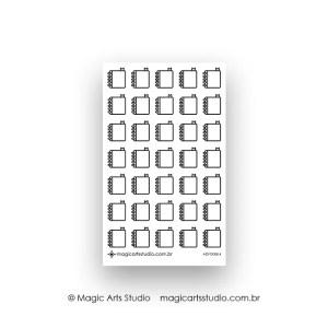 Cartela de adesivos funcionais caderno