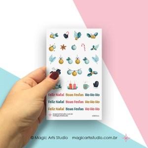 Cartela de adesivos decorativos natal