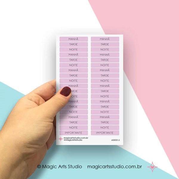 Cartela de adesivos títulos - períodos: manhã, tarde, noite - lilás