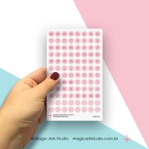 Cartela de adesivos funcionais com bolinha cor rosa