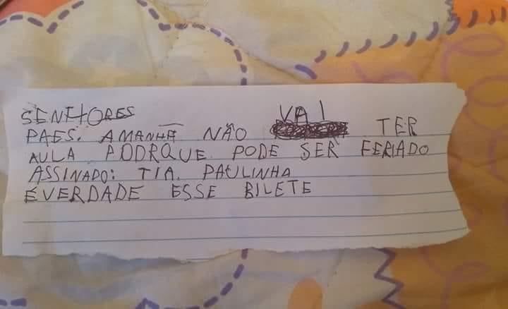 bilhete menino 5 anos