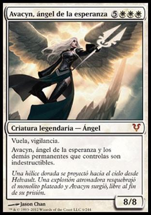 Vuela, vigilancia.  Avacyn, ángel de la esperanza y los demás permanentes que controlas son indestructibles.