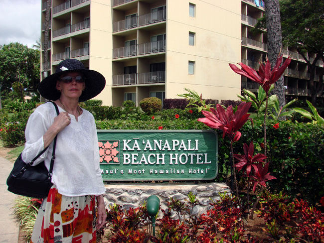 Cathy McDonald at Ka'anapali Beach Hotel, Maui. Photo by M. Maxine George