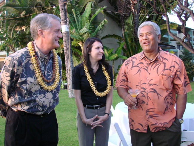 Michael White of the Ka-anapali with Kim Kessler and Clifford Nao'ele of the Ritz Carlton, Kapalua