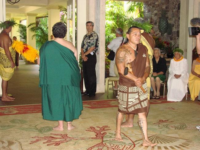 Hoaka Delos Reyes, carver, enters the Celebration of the Arts, at Ritz Carlton, Kapalua,