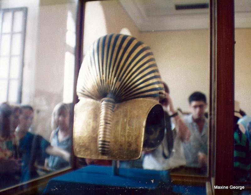 Back view of gold mask of Tutankhamen
