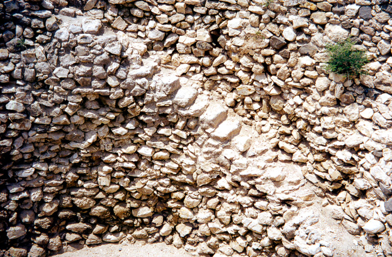 Walls of granary showing steps leading down to the bottom. Megiddo, Israel
