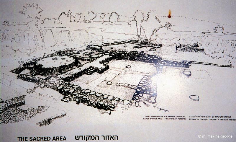 Sign showing layout of Sacred Area, Megiddo Israel
