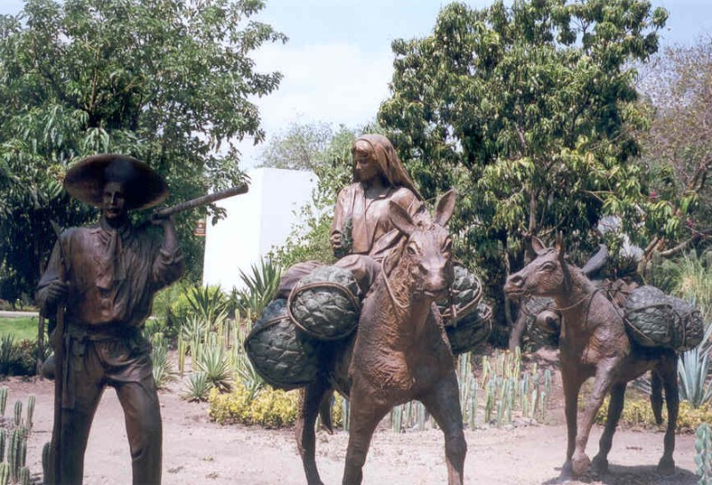 Statues of harvesters by artist Carlos Terres in Jose Cuervo distillery, Tequila, Mexico