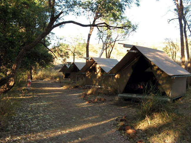 Tented accommodation at the Imintji Wilderness Camp, Australia. Photo courtesy of Heather and Barry Minton