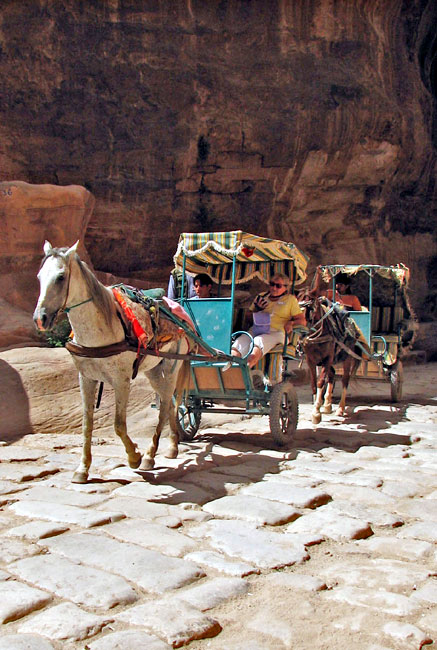 Carriages are used to carry people who are unable to walk the distance into Petra. Picture by Margaret Deefholts