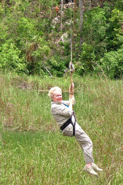 Maxine Zip Lining on Mayan Adventrure Yucutan Penninsula