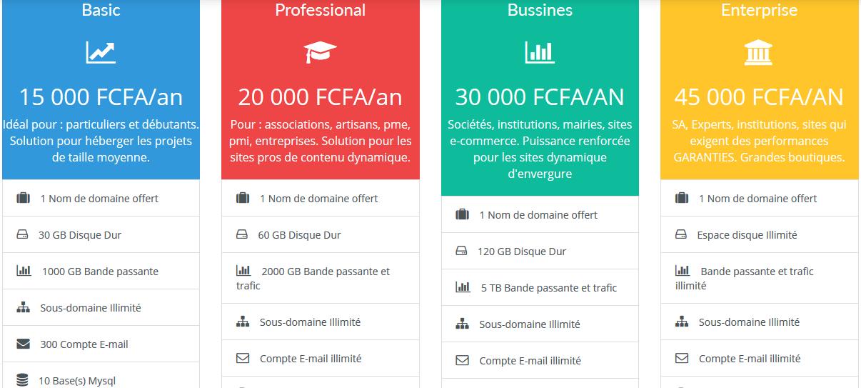 Hébergement Web adapté au marche Africain à moindre coût et facile d'accès