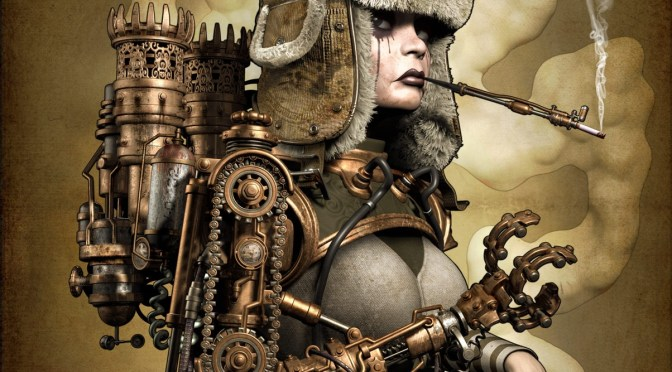 A 3d character with a steampunk style wearing a hat and smoking a cigarette
