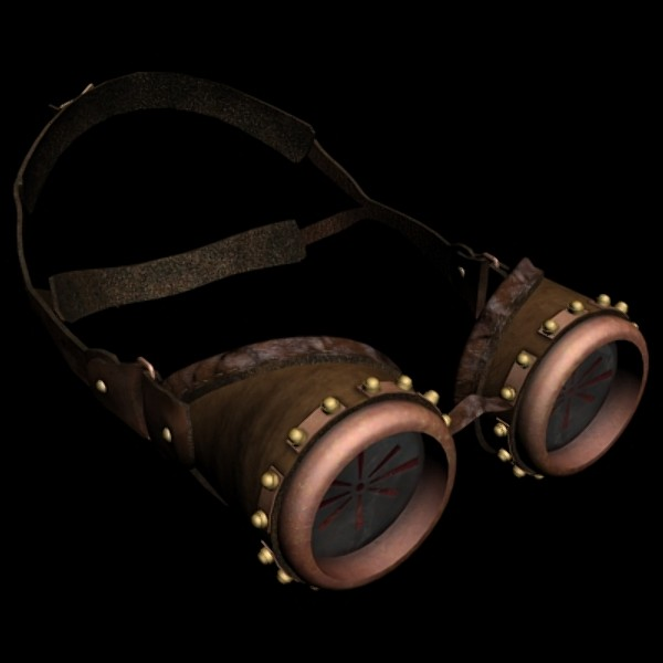 Steampunk style goggles with leather details