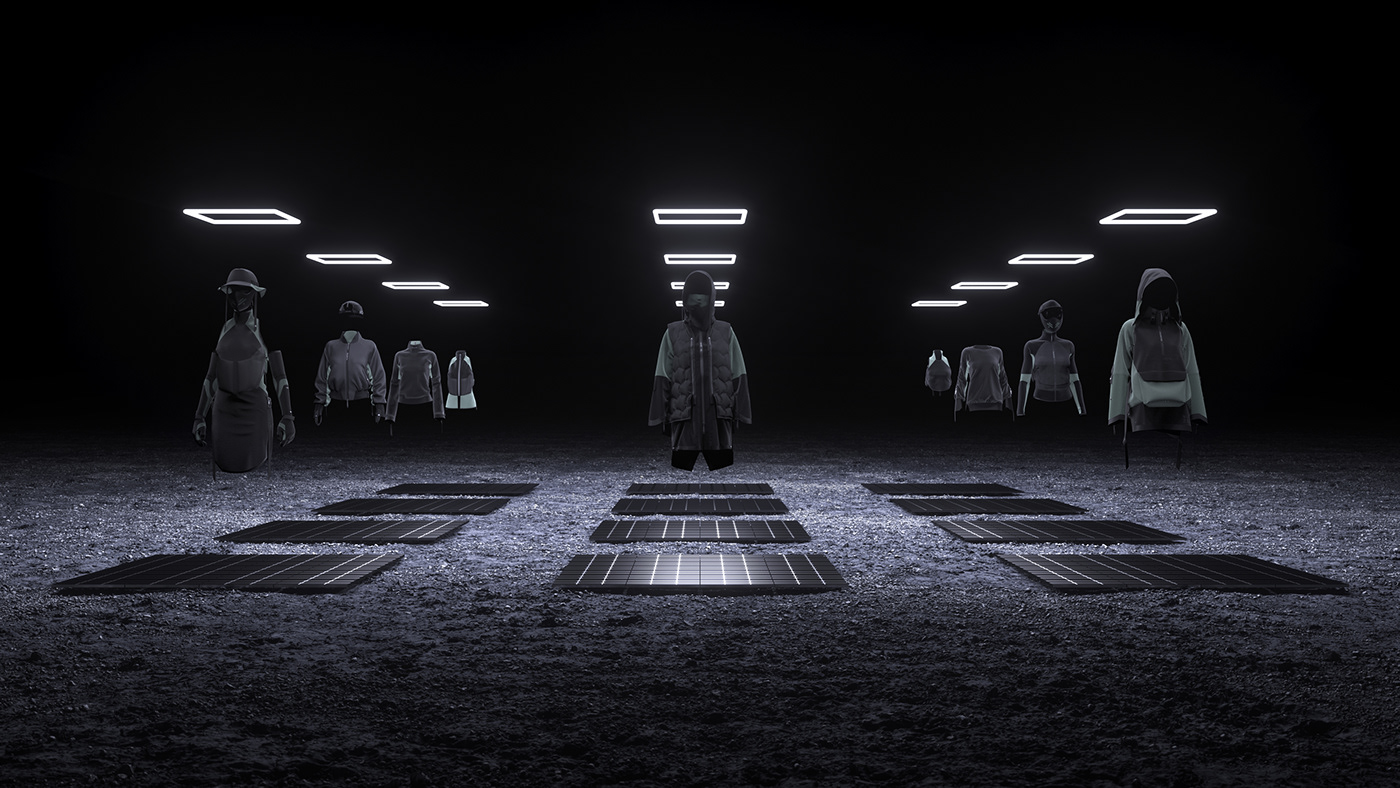 3D fashion pieces hanging in the air in a dark room