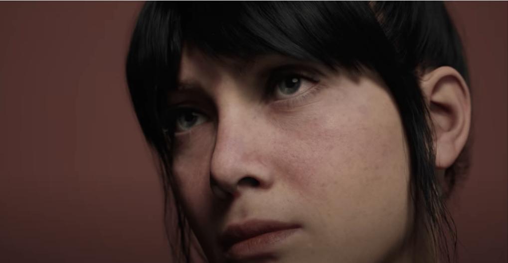 Image of a virtually created woman in Unreal Meta Human creator