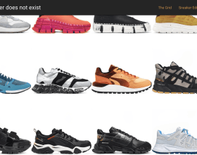 a grid with sneakers in different colors designed by AI