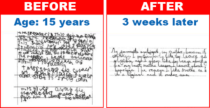 15 year old handwriting before and after