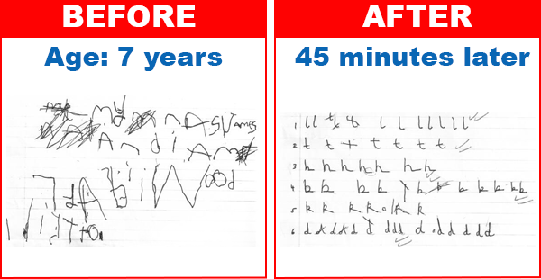 7 year old handwriting before and after