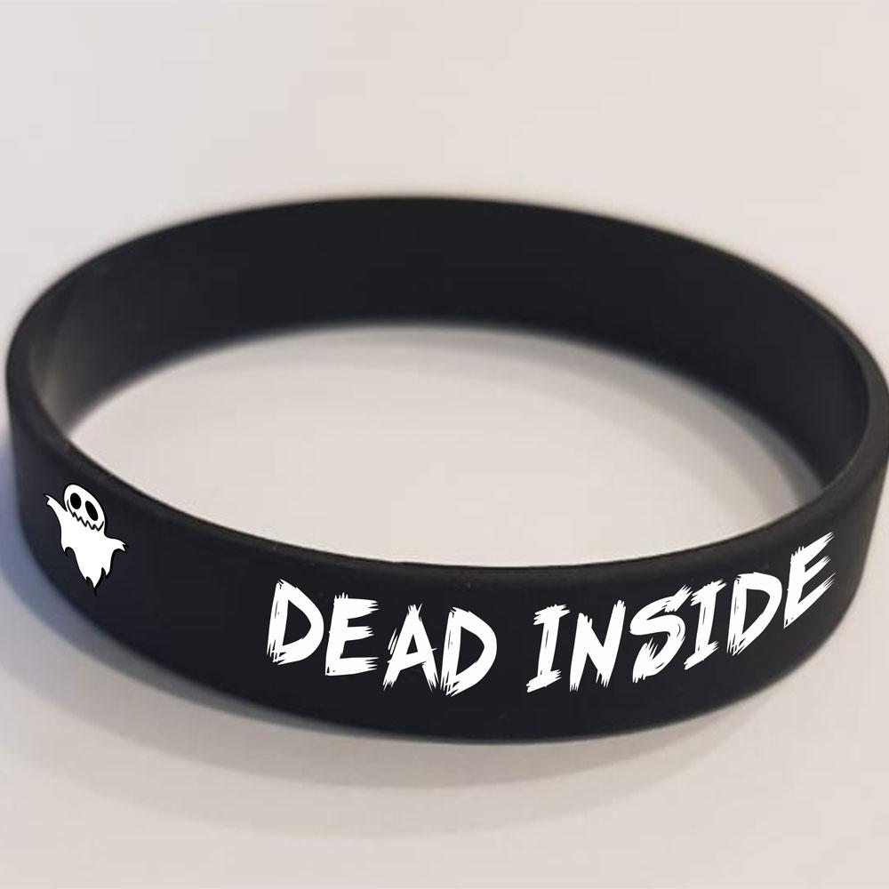 """Браслет """"DEAD INSIDE"""" черный, размер 202 и 180"""