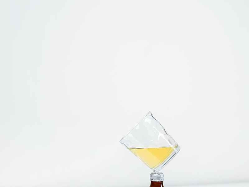 nate glass bottle and rocks glass