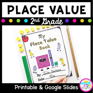 Resource cover for place value second grade math product that is printable and in google slides