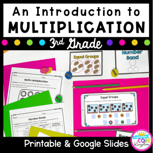 Introduction to Multiplication cover for 3rd grade showing multiple worksheets available in printable and digital formats