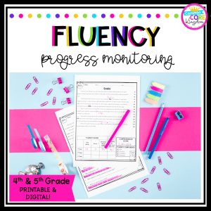 Fluency product cover for 4th and 5th grade reading fluency passages showing printed passages on blue and pink background with pens