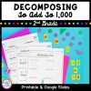 Decomposing 2nd grade math product cover showing thee worksheets with colorful paper and number blocks.