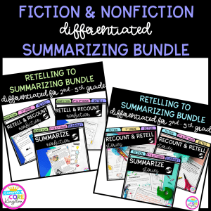 Fiction and Nonfiction Summarizing Bundle cover for 2nd-5th grade showing printable and digital worksheets