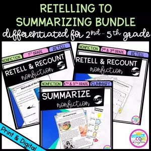 Retelling to Summarizing Nonfiction Bundle cover for 2nd - 5th grade showing printable and digital worksheets