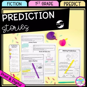 Making Prediction cover for 1st grade showing printable and digital worksheets