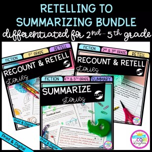 Retelling to Summarizing Bundle for 2nd - 5th Grade cover showing printable and digital worksheets
