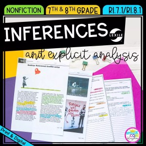 Inferences and explicit analysis cover for 7th & 8th grades, showing a reading passage and question sheets that are available in printable and digital formats