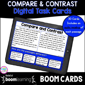 Compare and Contrast 2nd and 3rd grade boom cards for distance learning cover showing a task card on a screen