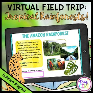 Virtual Field Trip To the Rainforest product cover showing a silde from the distance learning resource on a tablet with a map in the background