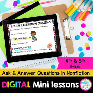 cover for digital mini lesson for questions and inferences in nonfiction showing digital reading comprehension worksheets on ipad
