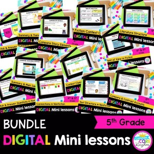 5th Grade Digital Mini lessons bundle cover showing digital worksheets