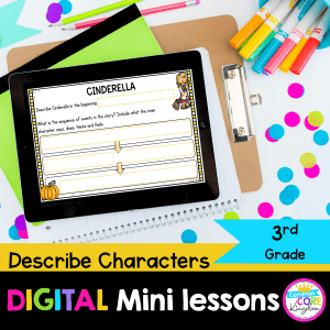 3rd Grade Describe Characters digital mini lesson for reading comprehension cover swing tablet and google slides teaching resource