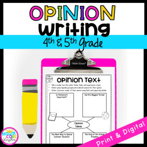 Opinion Writing Cover for 4th & 5th Grade showing a printable and digital worksheet