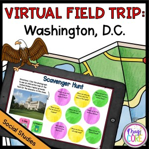 Virtual Washington DC Field Trip cover for 2nd - 5th Grades showing a digital activity