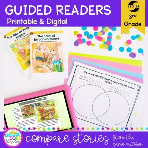 Guided Readers for 3rd Grade - Comparing Stories from the same author, showing printable and digital worksheets