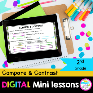 RL.2.9 Compare and Contrast Fiction Digital Mini Lesson Cover showing use of digital resource in Google Slides on iPad