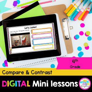 RL.4.9 Compare and Contrast Fiction Digital Mini Lessons Cover showing use of digital resource in Google Slides on iPade