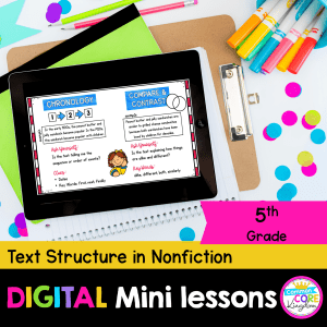 RI.5.5 Text structure in nonfiction digital mini lessons cover showing use of digital resource in Google Slides on iPad